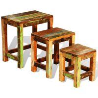vidaXL Zestaw 3 stolików wsuwanych pod siebie, lite drewno z odzysku