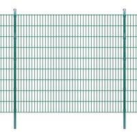 vidaXL 2D Panele i słupki ogrodzeniowe 2008x1830 mm 42 m zielone