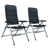 vidaXL Rozkładane krzesła ogrodowe, 2 sztuki, aluminiowe, czarne