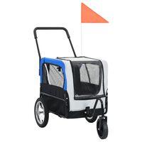 vidaXL Przyczepka dla zwierząt do roweru i biegania, szaro-niebieska
