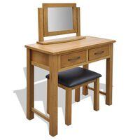 vidaXL Toaletka ze stołkiem, lite drewno dębowe