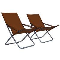vidaXL Składane krzesła plażowe, 2 szt., tkanina, brązowe