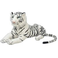 80164 vidaXL Tiger Toy Plush White XXL - Untranslated