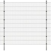 vidaXL Panele ogrodzeniowe 2D z słupkami - 2008x2030 mm 36 m Srebrne