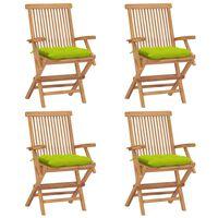 vidaXL Krzesła ogrodowe z jasnozielonymi poduszkami, 4 szt., tekowe