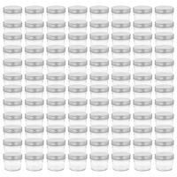 vidaXL Szklane słoiki na dżem, srebrne pokrywki, 96 szt., 110 ml