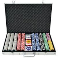 vidaXL Zestaw do gry w pokera 1000 żetonów laserowych, aluminium
