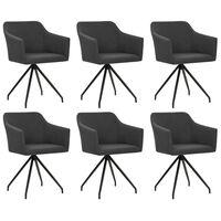 vidaXL Obrotowe krzesła stołowe, 6 szt., ciemnoszare, tkanina