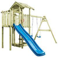vidaXL Plac zabaw z drabinką, zjeżdżalnią i huśtawkami, drewno