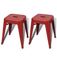 vidaXL Stołki sztaplowane, 2 szt., czerwone, metalowe