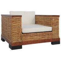 vidaXL Fotel z poduszkami, brązowy, naturalny rattan