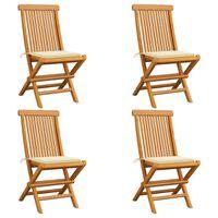 vidaXL Krzesła ogrodowe, kremowe poduszki, 4 szt., lite drewno tekowe