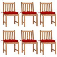 vidaXL Krzesła ogrodowe 6 szt., z poduszkami, lite drewno tekowe