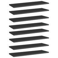 vidaXL Półki na książki, 8 szt., wysoki połysk, czarne, 60x20x1,5 cm