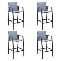 vidaXL Ogrodowe krzesła barowe, 4 szt., szare, tworzywo textilene
