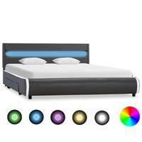 vidaXL Rama łóżka z LED, antracytowa, sztuczna skóra, 160 x 200 cm