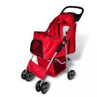 vidaXL Wózek spacerowy dla zwierząt, czerwony