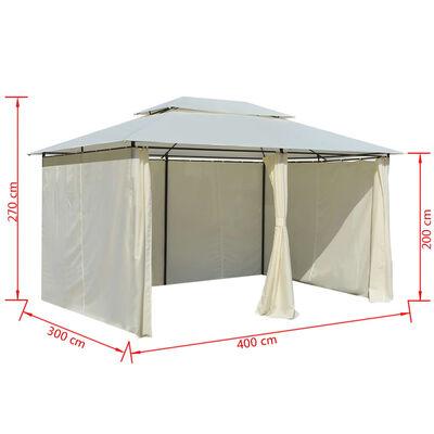 vidaXL Namiot ogrodowy z zasłonami, 4 x 3 m, biały