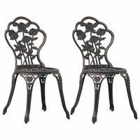vidaXL Krzesła bistro, 2 szt., brąz, stop aluminium