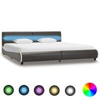 vidaXL Rama łóżka z LED, antracytowa, sztuczna skóra, 180 x 200 cm
