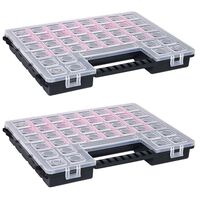 vidaXL Organizery, 2 szt., z przestawnymi przegródkami, 385x283x50 mm