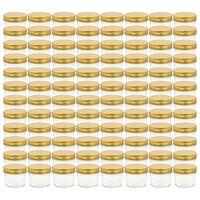 vidaXL Szklane słoiki na dżem, złote pokrywki, 96 szt., 110 ml