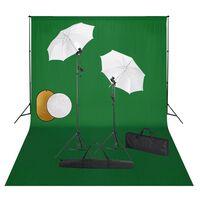 vidaXL Zestaw studyjny z lampami, parasolkami, tłem i blendami