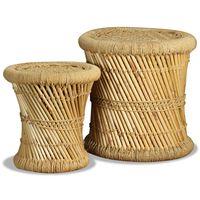 vidaXL Stołki, 2 szt., bambus i juta