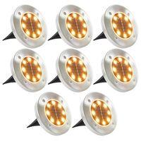 vidaXL Solarne lampy gruntowe, 8 szt., ciepłe białe LED