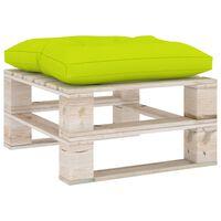 vidaXL Ogrodowy stołek z palet z jasnozieloną poduszką, drewno sosnowe