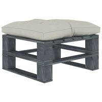 vidaXL Ogrodowy stołek z palet z beżową poduszką, drewniany