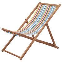 vidaXL Składany leżak plażowy, tkanina i drewniana rama, wielokolorowy