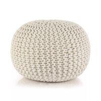 vidaXL Puf z ręcznie dzierganym pokryciem z bawełny, 50x35 cm, biały