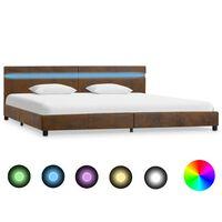 vidaXL Rama łóżka z LED, brązowa, tapicerowana tkaniną, 180 x 200 cm