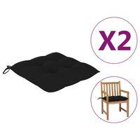 vidaXL Poduszki na krzesła, 2 szt., czarne, 50x50x7 cm, tkanina