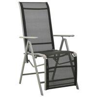 vidaXL Rozkładane krzesło ogrodowe, textilene i aluminium, srebrne