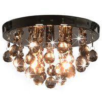vidaXL Lampa sufitowa z przydymionymi koralikami, czarna, okrągła, G9