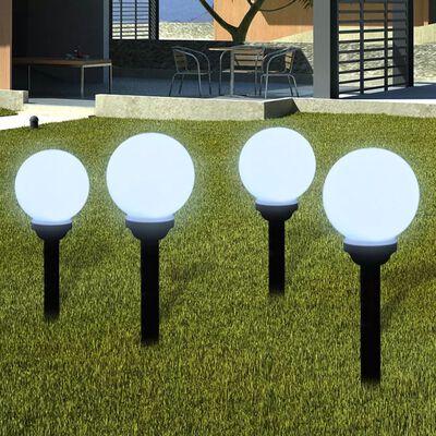 vidaXL Zewnętrzna lampa solarna LED, kula, 15 cm, 4 szt., z bolcem