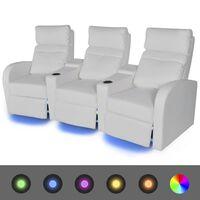vidaXL Fotele kinowe 3 osobowe, biała, sztuczna skóra, z podświetleniem LED