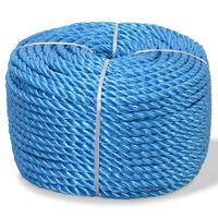 vidaXL Skręcana linka z polipropylenu, 14 mm, 100 m, niebieska