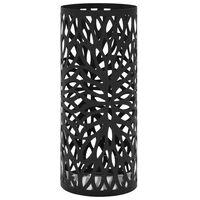 vidaXL Stojak na parasole, design w liście, stalowy, czarny