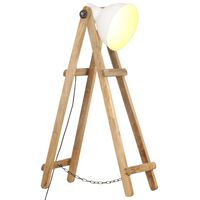 vidaXL Lampa podłogowa, biała, E27, lite drewno mango