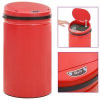 vidaXL Automatyczny kosz na śmieci z czujnikiem, 50 L, stal, czerwony