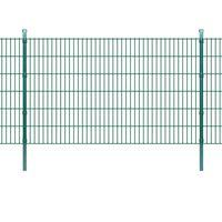 vidaXL 2D Panele i słupki ogrodzeniowe 2008x1230 mm 16 m zielone