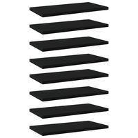 vidaXL Półki na książki, 8 szt., czarne, 40x20x1,5 cm, płyta wiórowa