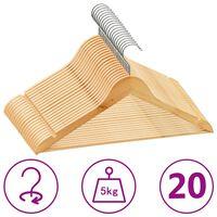 vidaXL 20 szt. wieszaków na ubrania, antypoślizgowe, twarde drewno