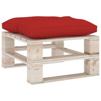 vidaXL Ogrodowy stołek z palet z czerwoną poduszką, drewno sosnowe