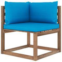 vidaXL Ogrodowa sofa narożna z palet, z jasnoniebieskimi poduszkami