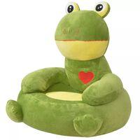 vidaXL Fotel dla dzieci żaba, pluszowy, zielony
