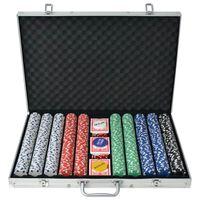 vidaXL Zestaw do gry w pokera 1000 żetonów, aluminium